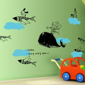 나무자전거  그래픽스티커 ik176-어린왕자의 환상여행/그래픽스티커/일러스트/왕자/고래/구름/여행/물고기/비닐/아이방꾸미기/어린이집꾸미기/어린왕자, 나무자전거
