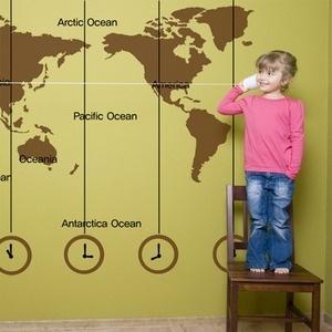나무자전거 그래픽스티커pb003-world time map(small)/세계지도스티커, 나무자전거