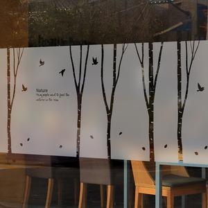 나무자전거  안개스티커 [mk] [BSP-205] 고급컷팅 안개시트_새들과 행복한 자작나무, 나무자전거