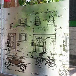 나무자전거  창문시트지 안개시트지(G-152) 연인, 나무자전거