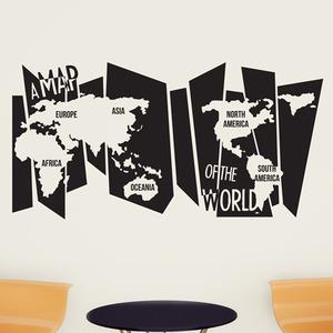 나무자전거 그래픽스티커 (LU-M91)중형_A map of the world 세계지도, 나무자전거