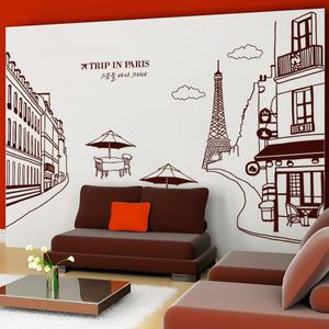 나무자전거  그래픽스티커 [GG]  ih529-에펠탑이보이는파리의카페거리(대형), 나무자전거
