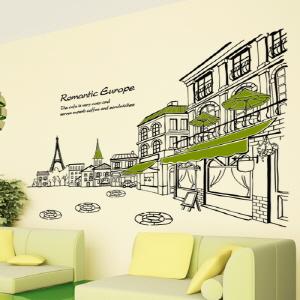 나무자전거  그래픽스티커 [GG] ij186-카페와 파리의 에펠탑2, 나무자전거