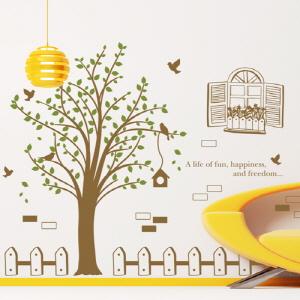 나무자전거  그래픽스티커 [GG] ij326-나무옆울타리와새들, 나무자전거