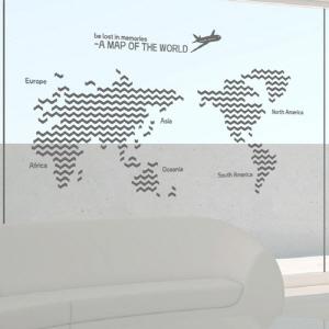 나무자전거 그래픽스티커[GG] ph140-지그재그패턴세계지도(대형), 나무자전거