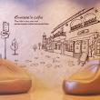 나무자전거  그래픽스티커 [GG] ij185-유럽의 카페거리, 나무자전거