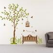 나무자전거 그래픽스티커 [GG] pa155-휴식을주는 행복나무와새, 나무자전거